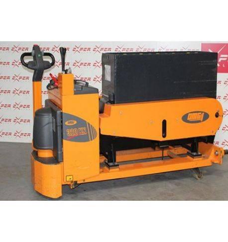 Transpalette électrique accompagnant extracteur de batteries OMG 1200 kg